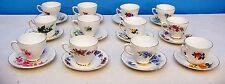 Vintage 12 Floral Fine Bone China Royal Sutherland Teacups and Saucers
