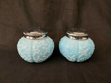 Antique Victorian Challinor & Taylor Forget Me Not Blue Glass Salt Pepper Shaker