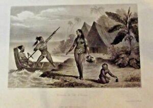 Ancienne gravure Naturel de l'Ile d'Oualan maintenant appelé Kosrae Micronésie