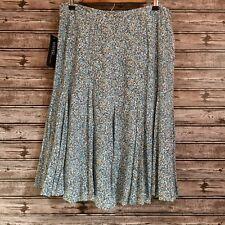 KASPER Women Skirt Baby Blue, Flared Panel, Dots Print, Career, Modest- Size 14