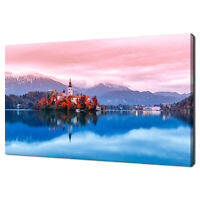 BLED LAKE IN SLOVENIA COLOURFUL SUNSET MODERN CANVAS PRINT WALL ART PICTURE