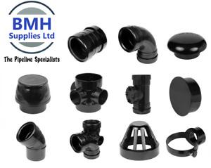 110mm UPVC Black Soil Pipe Push Fit Ring Seal Fittings, Internal/External Use