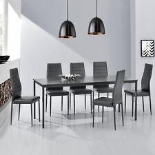 [en.casa]® Esstisch mit 6 Stühlen dunkelgrau 180x80cm Küchentisch Esszimmertisch