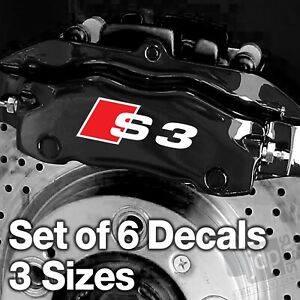 AUDI S3 Quality Brake Caliper Decals Stickers WHITE & RED - 3 SIZES - 6 DECALS
