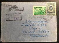 1945 Yerevan Armenia Russia USSR Registered Cover To Ostrava Czechoslovakia