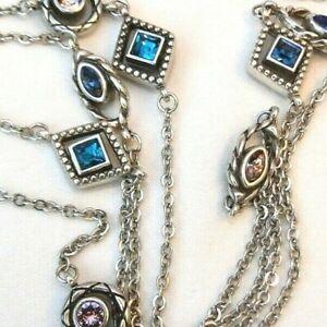 NWT Brighton Halo Horizon Pink, Purple, Blue & Green Crystal Long Necklace $98