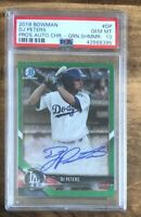 DJ PETERS 2018 BOWMAN CHROME RC GREEN SHIMMER REFRACTOR AUTO #/99 PSA 10 GEM MT