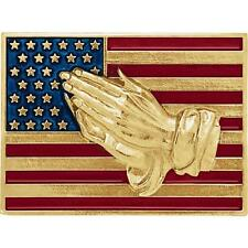 14K Yellow Gold American Flag with Praying Hands Lapel Pin