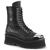 Demonia GRAVEDIGGER-10 Men's Black Goth Punk Ska Skater Platform Ankle Boots