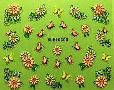 Nail Art 3D Decal Stickers Butterflies & Flowers BLE1030D