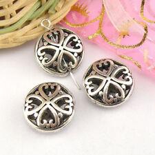 3Pcs Tibetan Silver Hollow Heart Spacer Beads 8x16mm A5122