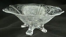 "Cambridge Crystal Portia Footed Candy Bowl, 6"" wide, clear etched glass"