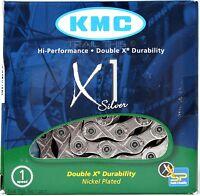 "KMC X1 Silver 1/2"" x 3/32"" 96-Link Track Fixed Gear BMX Single-Speed Bike Chain"