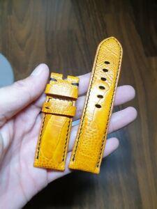 24/22 yellow Genuine-ostrich LEATHER-SKIN-WATCH-STRAP-BAND