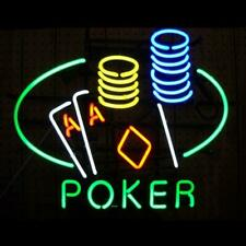 "New Poker Double Aces Neon Sign Beer Bar Pub Gift Light 20""x16"""