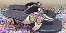 """DONALD J PLINER """"Violeta"""" Dragonfly Thong Sandals Kitten Heels Sz. 9 Embellished"""