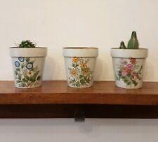 X3 Vintage 70s Japanese Small Ceramic Plant Pots Houseplants Botanicals