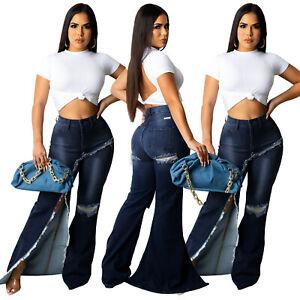 HOT SALE Women High Waist Bell-Bottom Slit Denim Bodycon Party Jeans Pants