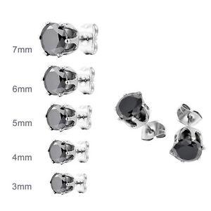 Stainless Steel Womens Stud Earrings Cubic Zirconia Inlaid,3mm-7mm 5 Pairs