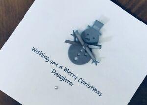 Personalised Handmade Christmas Cards - Snowman 13.5cm X 13.5cm