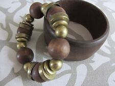 East Fabulous Set Of Two Wooden Brown & Gold Tone Bangle & Stretch Bracelet New.