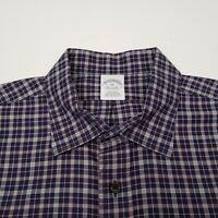 Brooks Brothers 1818 Men's Shirt Size XL 100% Supima Blue Check Plaid