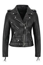 Ladies Biker Leather Jacket Black Cowhide Leather Women Perfecto Classic Jacket