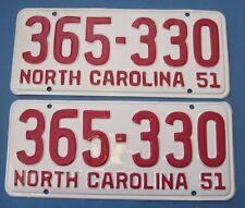 1951 North Carolina License Plates Matched pair professionally restored