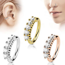 Nose Ring Hoop Rook Helix Lip Ear Stud Ear Cuff Cartilage Clear Stone Claw Set