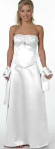 Brautkleid Hochzeitskleid Abendkleid Standesamt weiß 2-teilig Satin Gr.44 NEU