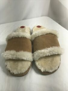 Minnetonka 10 Sunflower Slides Faux Fur Lining Suede Soft Comfy Limited Edition