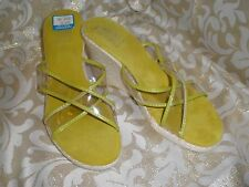 MOOTSIES TOOTSIES CLEAR / GREEN TRIM STRAPPY WEDGE Clogs Mules ESPADRILLES 10 M