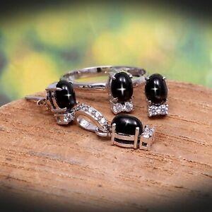 Black Star Sapphire Ring Earrings Pendant Dainty Jewelry Set 925 Sterling Silver