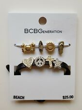 "NWT BCBG Generation Make Your Own Mini ""Beach"" Charms Bracelet Black Gold Silver"