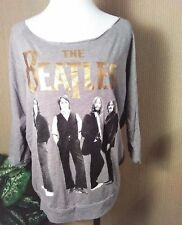 Beatles Women's Graphic T-Shirt Medium Gray Black Gold Off Shoulder 3/4 Sleeve