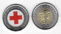 PANAMA - NEW ISSUE COLORED BIMETAL 1 BALBOA UNC COIN 2017 YEAR RED CROSS