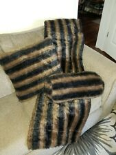 Faux Fur Throw With Square And Oblong Throw Pillows Black And Brown