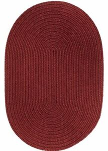 WearEver Durable Country Cottage Home Solid Braided Rug Colonial Red S005