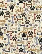 Fabric Woof Bones & Paws Earth Colors on Tan Timeless Treasures 1/4 Yard 2372