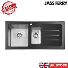 JASS FERRY Premium Black Glass Top Stainless Steel Kitchen Sink 1.5 Bowl New