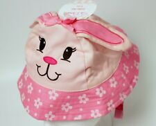 Pink Baby Critter Bucket Hat Puppy with Flowers So Adorable 6-12 Months