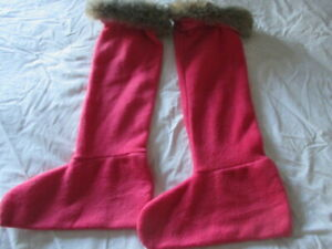 WELLY WARMERS PINK SMALL/ MEDIUM WITH FAUX FUR TRIM - WELLY SOCKS/LINERS