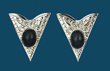 Western Collar Tips - Silver with Black Stones