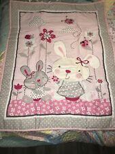 4pcs Baby Girl Pink Rabbit Bedding Set Crib Nursery Quilt Bumper Sheet Crib New