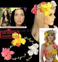 1 Hawaii Hawaiian Hula Fancy Dress Costume Flower Lei Necklace Headband Crown