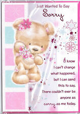 Sorry Card Teddy With Glitter Flowers. Just Wanted To Say Sorry Cute Theme.