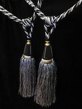 NERO Bianco e Oro Nappa curtain tiebacks-per ogni coppia-TASS 33 cm abbracciare 82cm