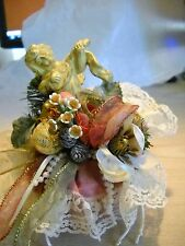Vintage Christmas Angel W/Wings,Instrument,Lace,H olly,Pinecones, Pearls, Ribbons