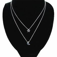 Kette Silber Bohemien Halskette 2 reihig retro Mond und Stern Multilayer Neu