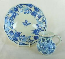 DUTCH DELFT HAND PAINTED MINIATURE JUG AND PLATE SET ~ DE PORCELEYNE FLES - FINE